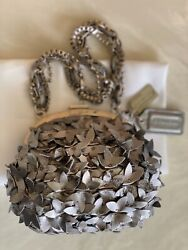 NEW COACH LIM EDITION POPPY SILVER METALLIC LEATHER FLOWER PARTY EVENING BAG