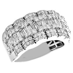10k White Gold Round And Baguette Diamond Wedding Band 12mm Statement Ring 2.35 Ct
