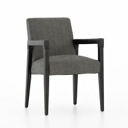 23 W Set Of 2 Modern Dining Chair Black Top Grain Leather Wrapped Oak Frame