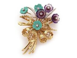 18k Yellow Gold Carved Amethyst Turquoise Diamond Flower Basket Brooch Pin