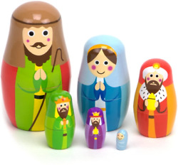 Nesting Nativity Wooden Christmas Holiday Nesting Doll Set With 6 Dolls – Small,