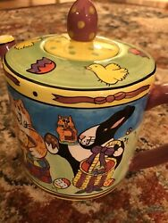 Catzilla Candace Reiter Large Teapot Easter Excellent Condition