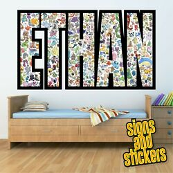 Childrens Personalised Name Wall Stickers Pokemon Boys/girls Bedroom Art 1