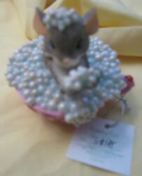 Bubbling Over for a Cure Mouse in Bubble Filled Teacup Breast Cancer COA $24.99