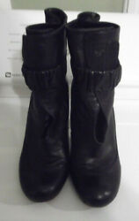 Authentic designer Chie Mihara black Leather Ankle Wrap Belted Boots sz 8.5m  $34.00