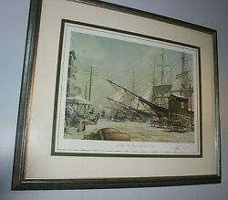 Stobart New York The Foot Of South Street 1876 Signed Matted Framed Le 32/750