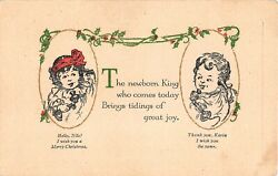 Children Talk To Each Other on Vintage Candlestick Telephones Old Christmas Card