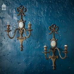 Pair Of 19th French Bow Top Brass And Jasperware Wall Sconces