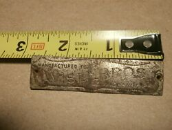 Antique Buggy Carriage Metal Name Plate Tag Wise Bros Lewisberry Pa