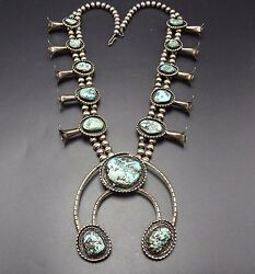 Huge Vintage Navajo Sterling Silver And Turquoise Squash Blossom Necklace 318g