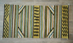 Navajo Chinle Wool Rug - Double Saddle Blanket 1950's 29 1/2 X 59 Gold Blk Wht