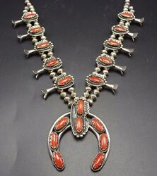 Superb Vintage Navajo Sterling Silver And Old Red Coral Squash Blossom Necklace