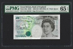 Great Britain 5 Pounds 1999 England B380cs P-382c Column Sort Lowther Pmg 65 Unc