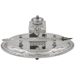 925 Sterling Silver Italian Baroque Desk Set Fountain Pen With Inkwell