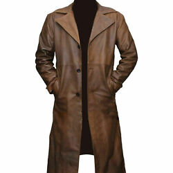 Mens Real Brown Pure Leather Trench Coat Jacket Winter Steampunk Long Coat