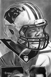 Carolina Panthers Painting By Topps Artist Dave Hobrecht - Wood Print