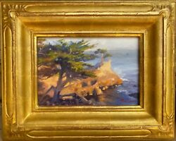June Carey Ca Listed Oil On Board Lone Cypress 17 Mile Drive Carved 22k Gold