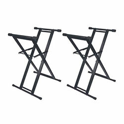 Odyssey Portable Pro Dj Coffin Mixer Keyboard X-stand W/ Rubber Pads 2 Pack