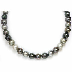 Tahitian Pearl Necklace 12 - 11 Mm Aaa Fancy Multi Color 14k Gold Clasp 18and039