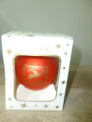 United States Postal Service 1999 Red Glass Ball Christmas Ornament Reindeer Fs