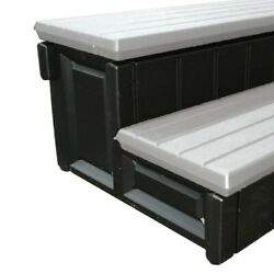 Leisure Accents 36 Inch Long Deluxe Spa Hot Tub Steps Gray And Black 6 Pack