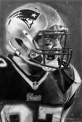 Patriots Gronk Helmet Painting By Topps Artist Dave Hobrecht - Canvas Print