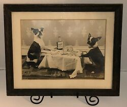 BOSTON TERRIERS Playing Poker Kentucky Bourbon 1910s 1920s Photo Print FRAMED