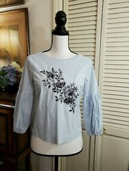 WHBM Blue Striped with Embroidered floral Design Top Sz 2P
