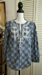 J.Crew Blue White Geometric Embroidered Tunic Top Blouse Size XS C2581