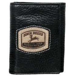 JOHN DEERE PEBBLE LEATHER TRI FOLD WALLET W HISTORICAL EMBOSSED LOGO BLACK U-0- $24.95