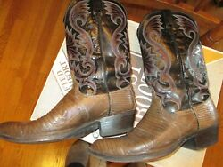 DAN POST Cowboy Boot 10.5 D Mens EXOTIC Lizard Leather USA Vintage Western Boots