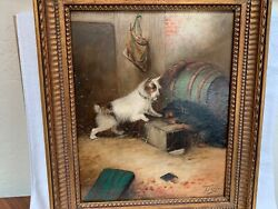 "J. Langlois oil painting canvas ""2 Terriers Waiting"" 1855-1904 listed 21x17"""