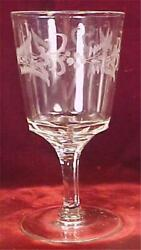 Antique Mitchell Water Goblet Duncan And Sons Clear Pressed Glass Engraved 1874