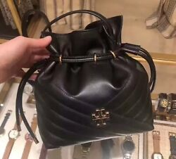 Tory Burch KIRA CHEVRON MINI BUCKET BAG Black Rosegold Brand Dustbag AU $569.00