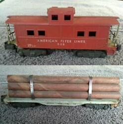American Flyer S Gauge Train Lot ©1950s Flat Car With Logs 905 And Caboose 938