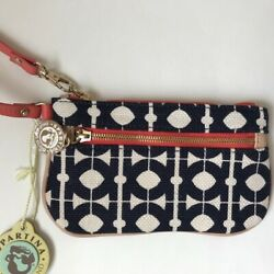 Spartina Large Navy Ivory Wristlet Leather amp; Linen New With Tag $27.00