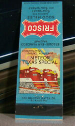 Vintage Matchbook Cover V3 Railroad Train Meteor Texas Special Frisco 5000 Miles