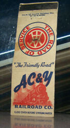 Vintage Matchbook Cover H4 Diamond Match Co Railroad Ac And Y Train Friendly Ohio