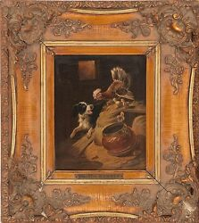 Henriette Ronner Hen Protecting Chicks From Dog 19th Century Oil Canvas Painting