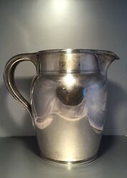 Antique C1930 Sterling Silver And Co Water Pitcher Jug 4.25 Pint - 1003.4g