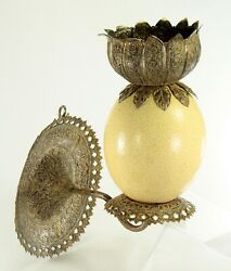 Antique 1800and039s X-fine Ostrich Egg And Tooled Silver Repousse Candle Sconce Lamp