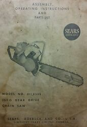 David Bradley Db Sears 758 G Chain Saw Gear Drive Owner And Parts Manual 917.61406