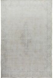 Antique Muted Kirman Evenly Low Pile Area Rug Hand-made Distressed Carpet 10x13
