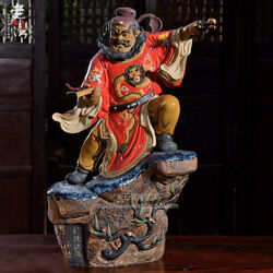 Chinese Color Glaze Porcelain Dragon Robe Zhong Kui The Ghost Buster God Statue