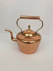 Jc And W Lord Large Antique Copper Tea Pot Kettle Brass Pinned Gooseneck