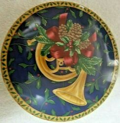 Mikasa Holiday Music Trinket Candy Dish Collectible Blue Gold Yellow Horn