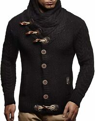 Leif Nelson Menand039s Knitted Jacket Turtleneck Cardigan Winter Pullover Hoodies Cas