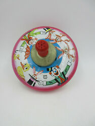 Vintage J Chein And Co Circus Tin Spinning Top Toy Wood Handle Duck Clown Bunny