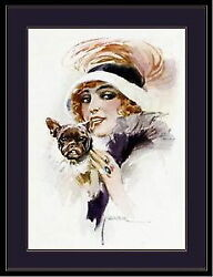 94484 English French Bulldog Puppy Dog And Lady Picture Decor Laminated Poster Ca