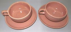 Russel Wright Coral Pink 2 Cups 3 Saucers Steubenville American Modern Pottery